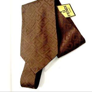 Fendi Brown Silk Jacquard Bias Weave Classic Tie
